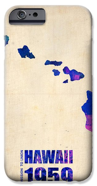 States iPhone Cases - Hawaii Watercolor Map iPhone Case by Naxart Studio