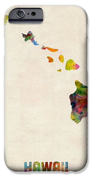 Geography iPhone Cases - Hawaii Watercolor Map iPhone Case by Michael Tompsett