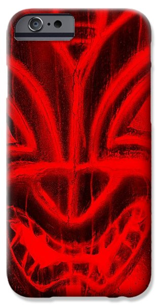 Statue Portrait iPhone Cases - Hawaiian Mask Negative Red iPhone Case by Rob Hans