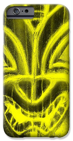 Statue Portrait iPhone Cases - Hawaiian Mask Negative Yellow iPhone Case by Rob Hans