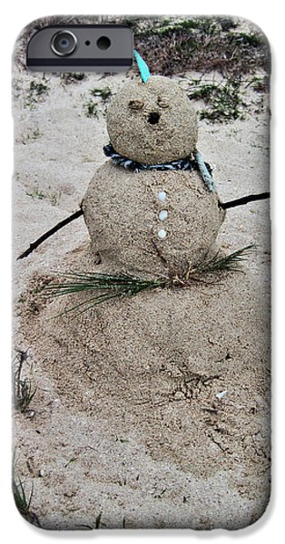 Sand Castles Photographs iPhone Cases - Hawaiian Snowman iPhone Case by Cheryl Young
