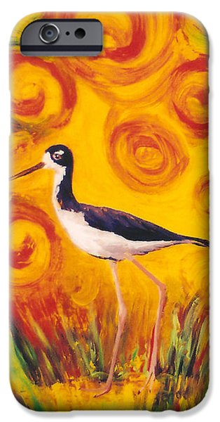Fauna Glass Art iPhone Cases - Hawaiian Stilt Sunset iPhone Case by Anna Skaradzinska