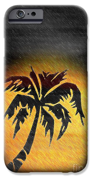 Colored Pencil Abstract iPhone Cases - Hawaiian Sunrise and Rain Abstract iPhone Case by Heinz G Mielke