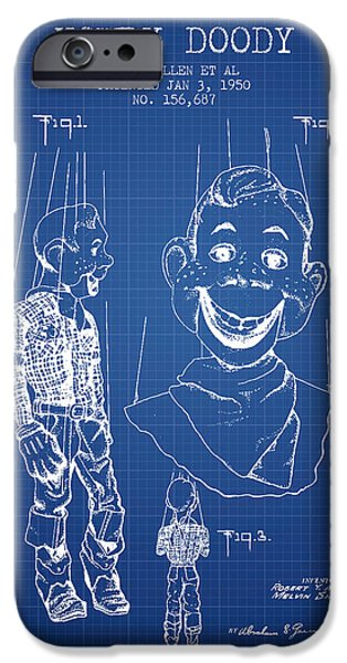 Puppets iPhone Cases - Hawdy Doody Patent from 1950 - Blueprint iPhone Case by Aged Pixel