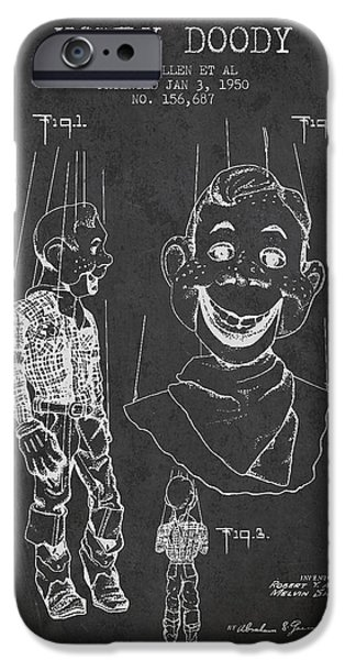 Puppets iPhone Cases - Hawdy Doody Patent from 1950 - Charcoal iPhone Case by Aged Pixel