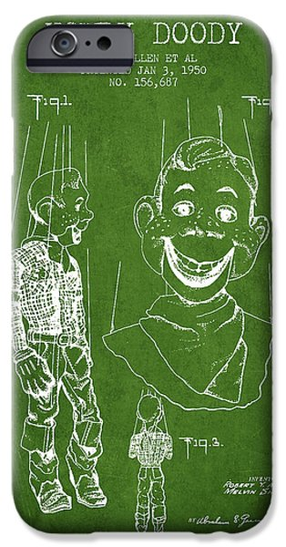 Puppets iPhone Cases - Hawdy Doody Patent from 1950 - Green iPhone Case by Aged Pixel
