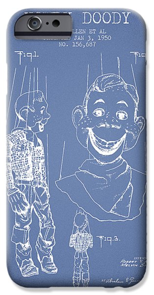 Puppets iPhone Cases - Hawdy Doody Patent from 1950 - Light Blue iPhone Case by Aged Pixel