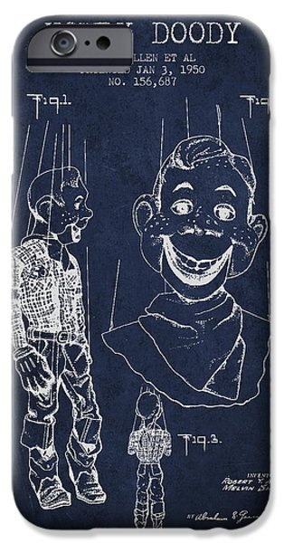 Puppets iPhone Cases - Hawdy Doody Patent from 1950 - Navy Blue iPhone Case by Aged Pixel