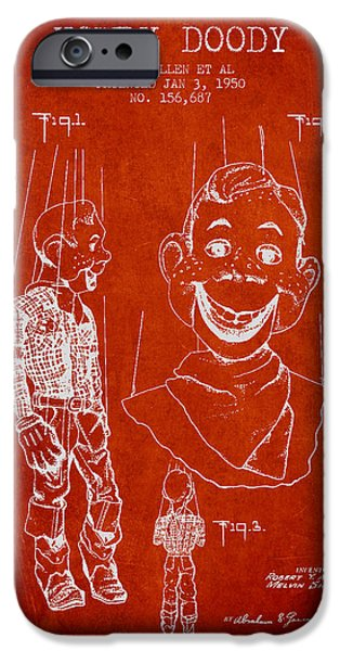 Puppets iPhone Cases - Hawdy Doody Patent from 1950 - Red iPhone Case by Aged Pixel