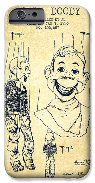 Puppets iPhone Cases - Hawdy Doody Patent from 1950 - Vintage iPhone Case by Aged Pixel