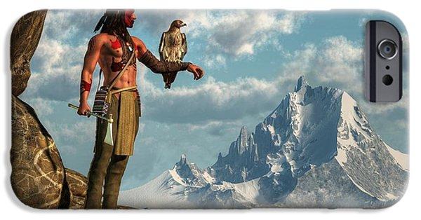Spirit Hawk iPhone Cases - Hawk Warrior iPhone Case by Daniel Eskridge