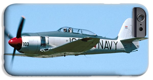 Fury iPhone Cases - Hawker Sea Fury NX51SF Flying Camarillo August 23 2003 iPhone Case by Brian Lockett