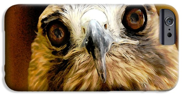Red Tail Hawk Digital Art iPhone Cases - HawkEye iPhone Case by Lois Bryan