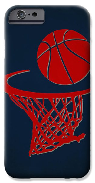 Dunk iPhone Cases - Hawks Team Hoop2 iPhone Case by Joe Hamilton