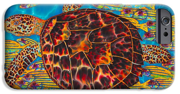 Ocean Tapestries - Textiles iPhone Cases - Hawksbill Sea  Turtle and  Snappers iPhone Case by Daniel Jean-Baptiste