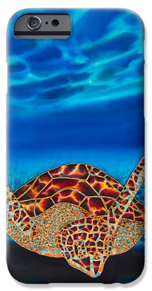 Ocean Tapestries - Textiles iPhone Cases - Hawksbill Sea  Turtle II iPhone Case by Daniel Jean-Baptiste