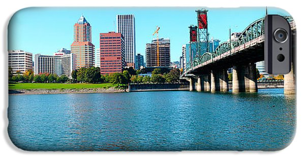 Connection iPhone Cases - Hawthorne Bridge Across The Willamette iPhone Case by Panoramic Images
