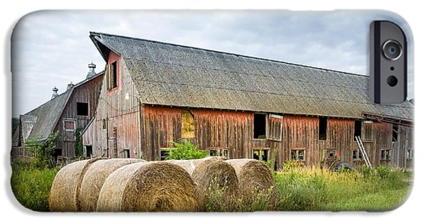 Old Barns iPhone Cases - Hay bales and old barns iPhone Case by Gary Heller