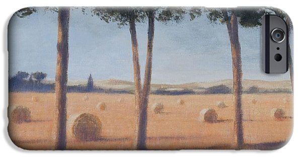 Hay Bales iPhone Cases - Hay Bales And Pines, Pienza, 2012 Acrylic On Canvas iPhone Case by Lincoln Seligman