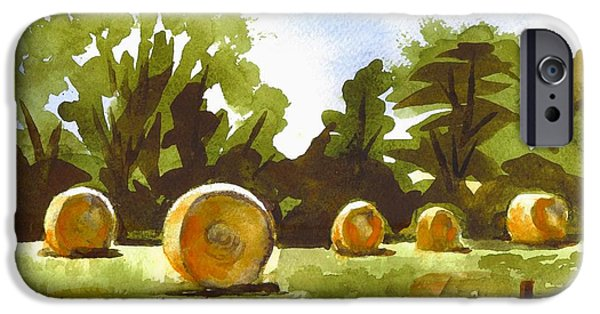 Bales Paintings iPhone Cases - Hay Bales at Noontime  iPhone Case by Kip DeVore