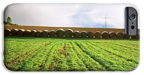 Hay Bales iPhone Cases - Hay Bales In A Farm Land, Germany iPhone Case by Panoramic Images