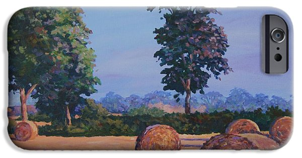 Hay Bales iPhone Cases - Hay-bales in Evening Light iPhone Case by John Clark