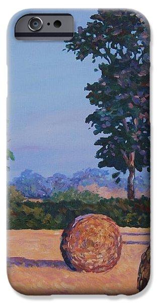 Hay-bales in Evening Light iPhone Case by John Clark