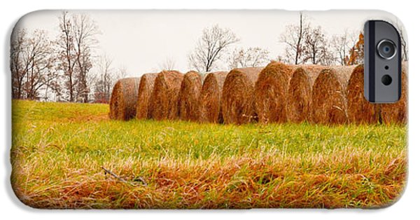 Rainy Day iPhone Cases - Hay Bales iPhone Case by Melinda Pettery