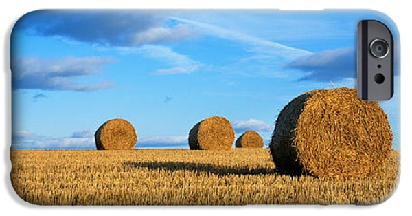Hay Bales iPhone Cases - Hay Bales, Scotland, United Kingdom iPhone Case by Panoramic Images