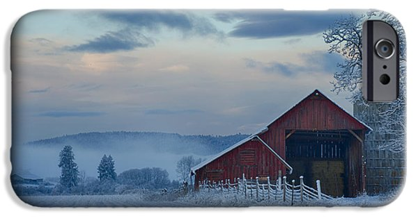 Snowy Day iPhone Cases - Hay Barn iPhone Case by Idaho Scenic Images Linda Lantzy