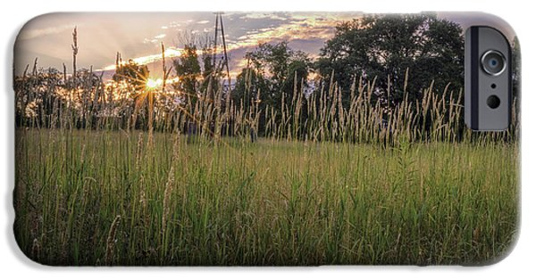 Connecticut Landscape iPhone Cases - Hay Field Sunset iPhone Case by Bill  Wakeley