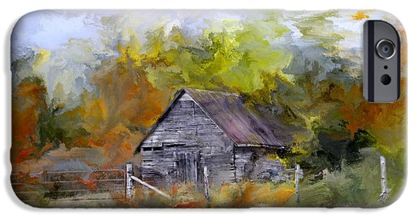 Old Barn Drawing iPhone Cases - Hay for My Horses iPhone Case by Evie Carrier