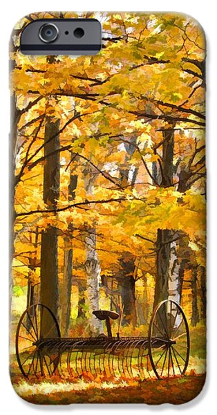 Autumn Scenes Paintings iPhone Cases - Hay Rake At Rest iPhone Case by Christopher Arndt