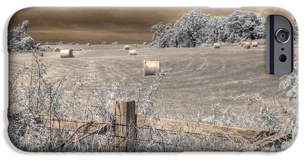 Barbed Wire Fences iPhone Cases - Hay Stacks iPhone Case by Jane Linders