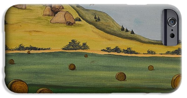Haybales Paintings iPhone Cases - Haybales iPhone Case by Cassandra Barnhart