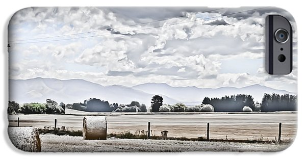 Haybale Digital Art iPhone Cases - Haybales fields trees and clouds iPhone Case by Shivonne Ross