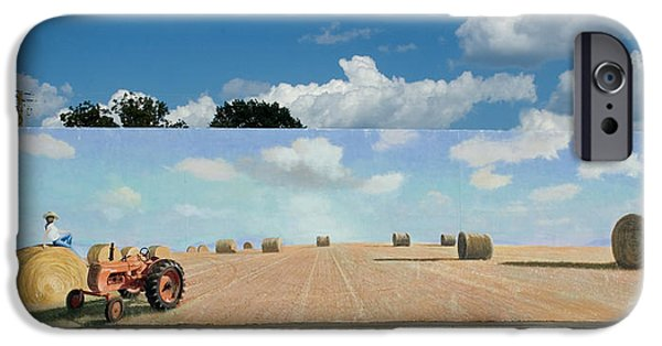 Haybales Paintings iPhone Cases - Haybales - The other side of the Tunnel iPhone Case by Blue Sky