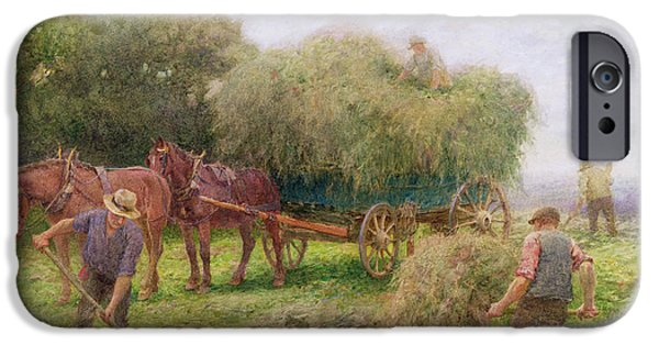 Crops iPhone Cases - Haymaking iPhone Case by Arthur Hopkins