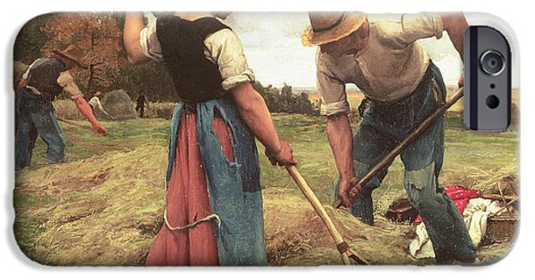 Crops Paintings iPhone Cases - Haymaking iPhone Case by Julien Dupre