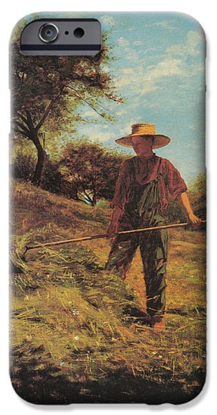 Shirt Digital iPhone Cases - Haymaking iPhone Case by Winslow Homer