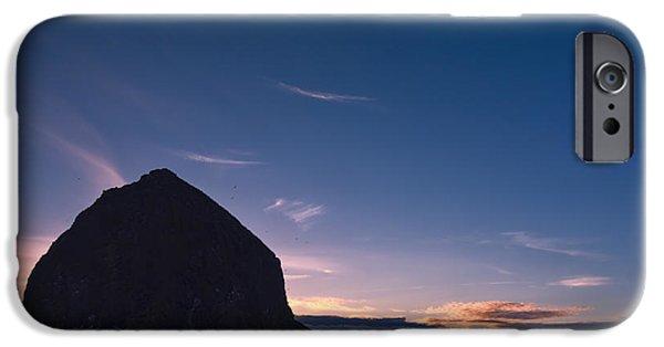 Ocean Sunset iPhone Cases - Haystack Rock Dusk iPhone Case by Joan Carroll