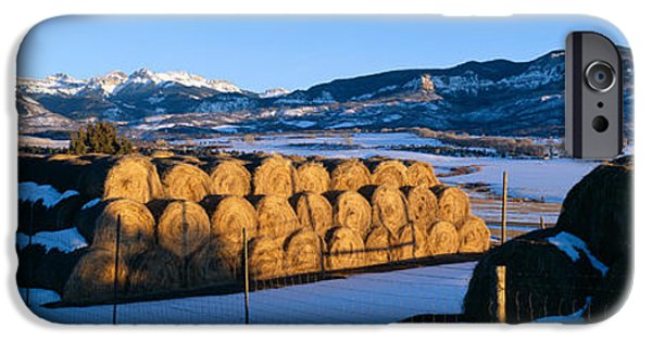 Agricultural iPhone Cases - Haystacks And Cimarron Mountains iPhone Case by Panoramic Images