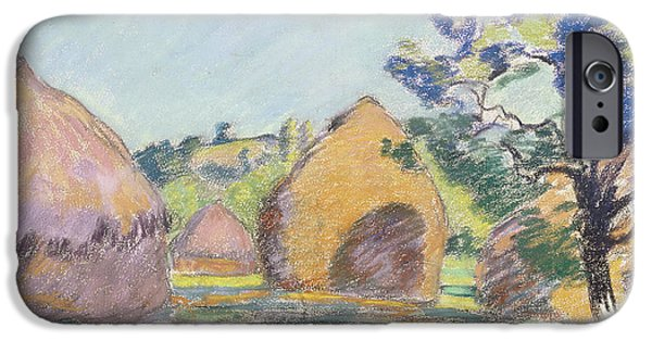 Farm Drawings iPhone Cases - Haystacks at Saint Cheron iPhone Case by Jean Baptiste Armand Guillaumin