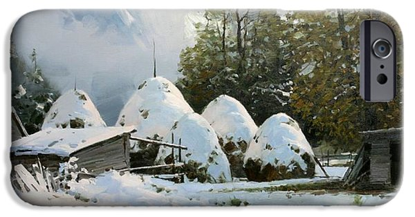 Metallic Print Drawings iPhone Cases - Haystacks. first Snow iPhone Case by Aleksander Babich
