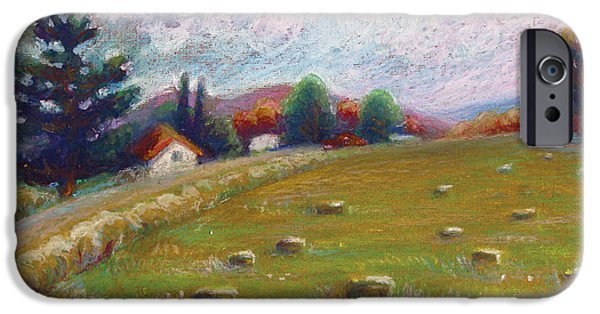 Field. Cloud Pastels iPhone Cases - Haystacks in Field iPhone Case by Renee Peterson