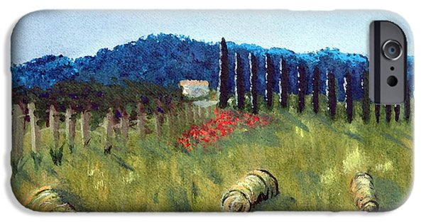 Haybales Paintings iPhone Cases - Haystacks iPhone Case by Maura Satchell