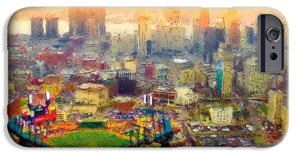 Baseball Stadiums Paintings iPhone Cases - Haze Over Comerica iPhone Case by John Farr