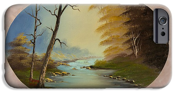 Bob Ross Paintings iPhone Cases - Misty Brook iPhone Case by C Steele