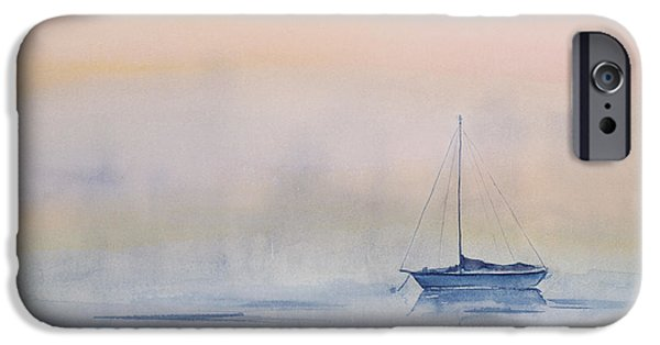 Sailboat Paintings iPhone Cases - Hazy Day Watercolor Painting iPhone Case by Michelle Wiarda