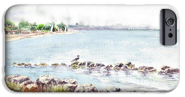 Windsurfer iPhone Cases - Hazy Morning at Crab Cove in Alameda California iPhone Case by Irina Sztukowski